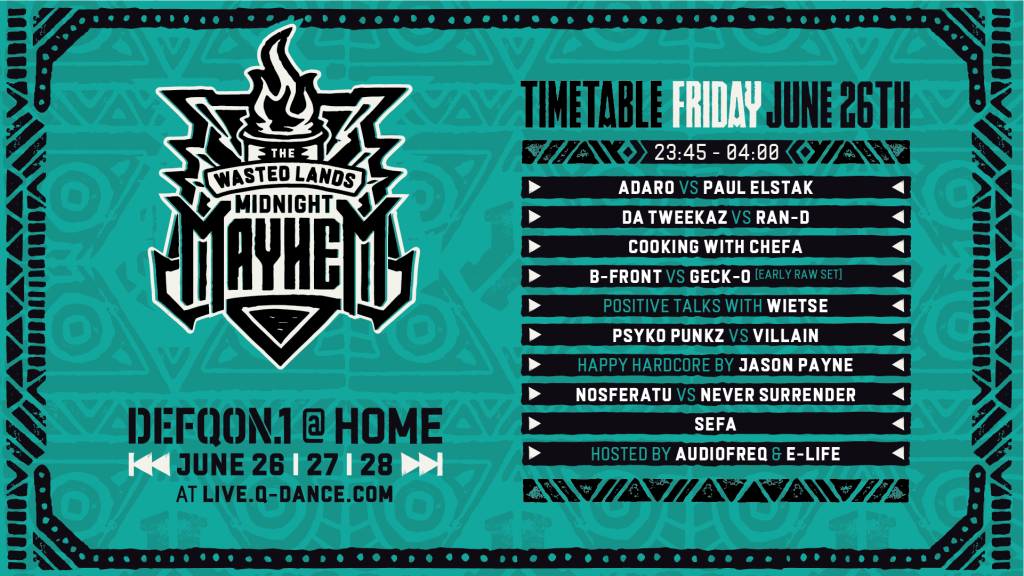 Defqon.1 at Home Festival 2020 Friday Schedule - Wastelands
