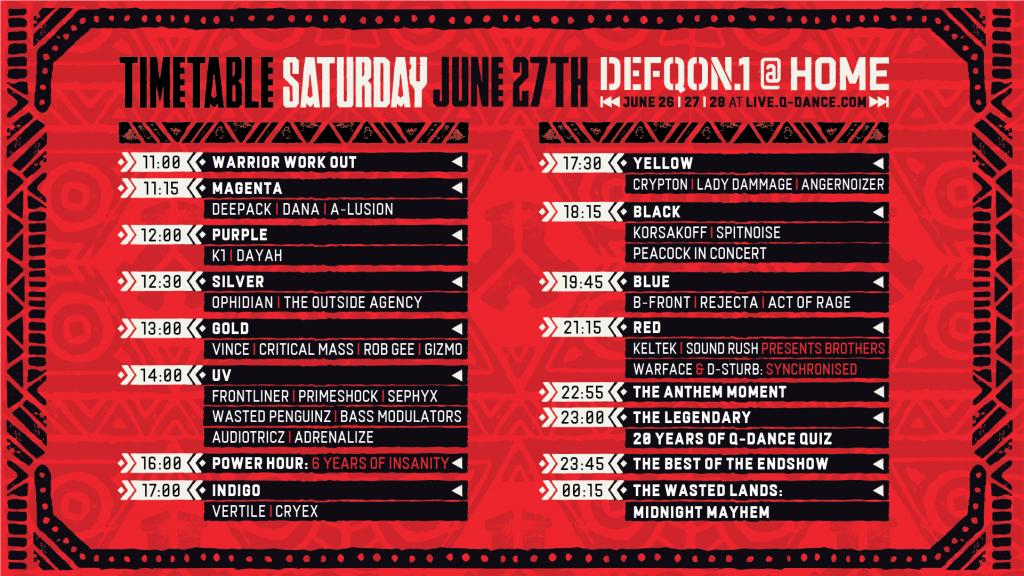 Defqon.1 at Home Festival 2020 Saturday Schedule