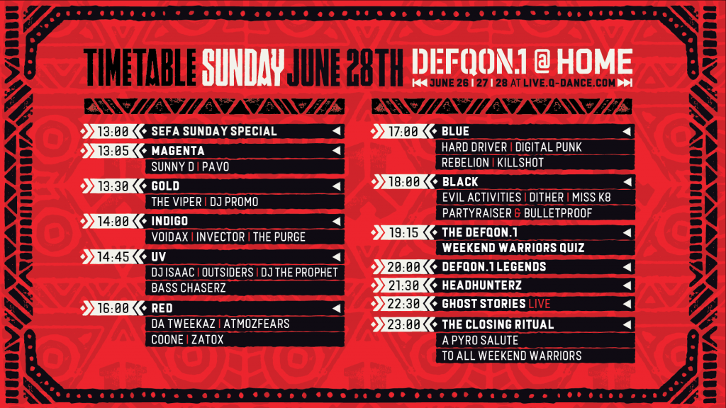 Defqon.1 at Home Festival 2020 Sunday Schedule