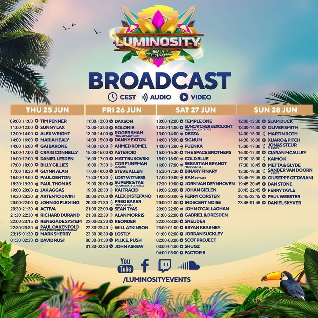 Luminosity Beach Festival 2020 - Broadcast Lineup