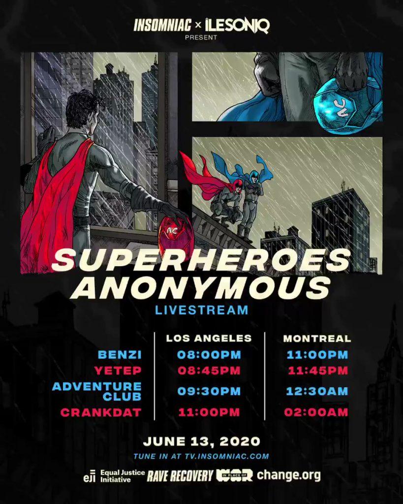 Superheroes Anonymous Livestream Schedule