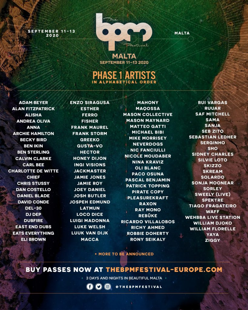 The BPM Festival Malta 2020 Phase 1 Lineup