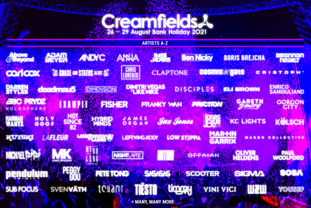 Creamfields UK 2021 Second Phase Lineup