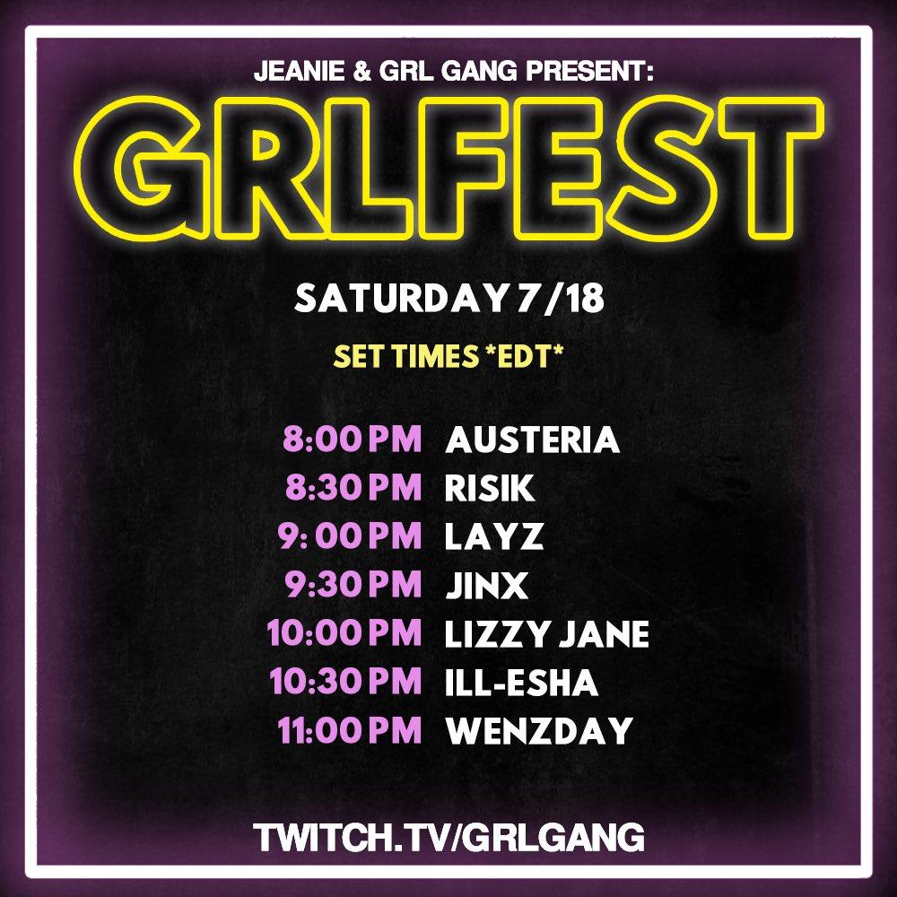 GRL GANG GRLFEST 2020 Set Times - Saturday