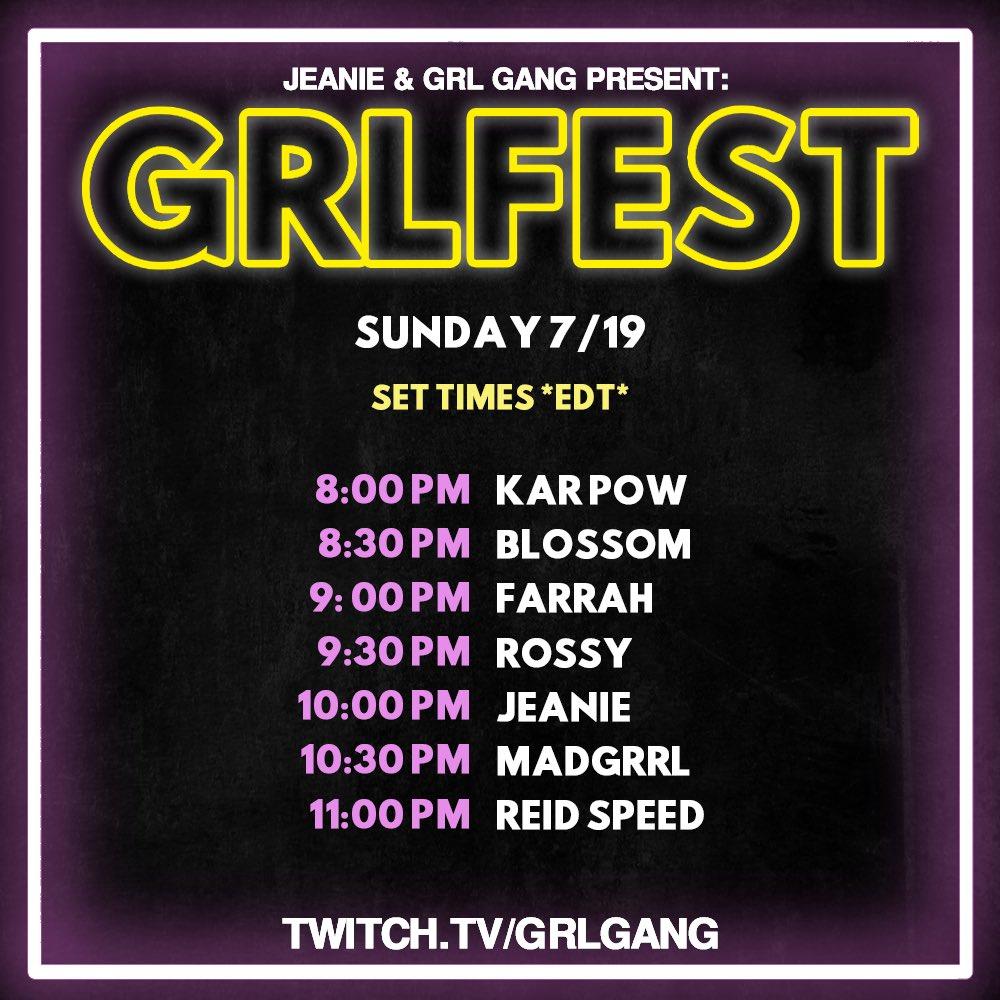 GRL GANG GRLFEST 2020 Set Times - Sunday
