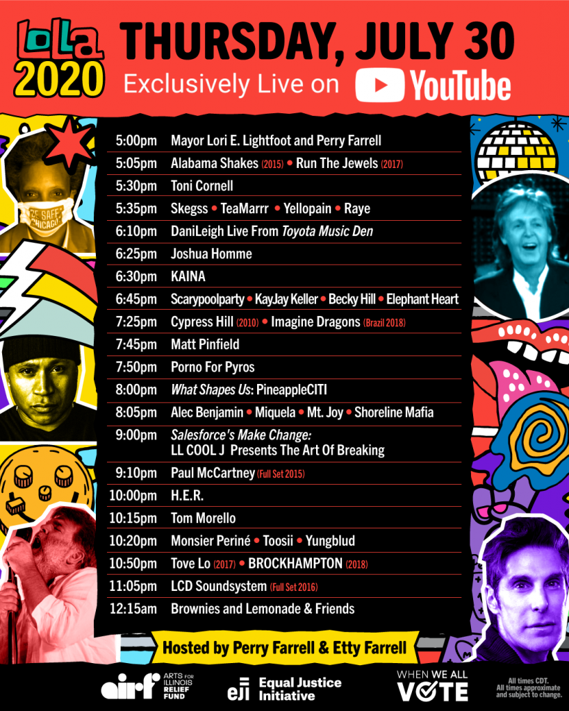 Lolla2020 Schedule - Thursday