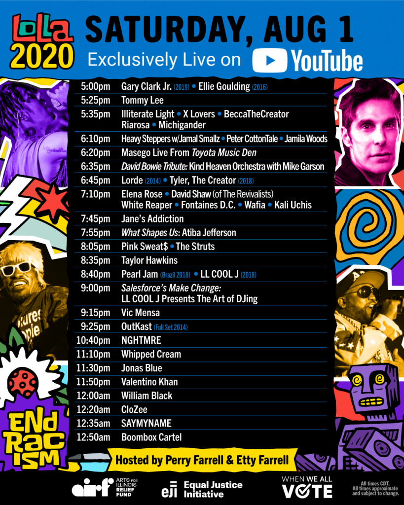 Lolla2020 Schedule - Saturday