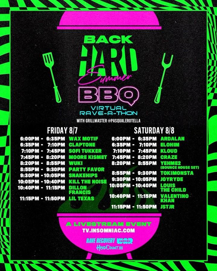 HARD Summer BackHARD BBQ Schedule