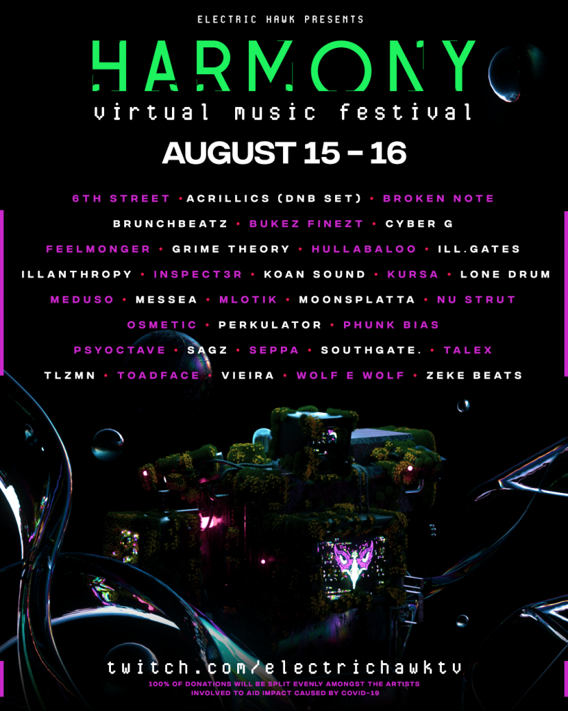Electric Hawk Harmony Virtual Music Festival August Lineup