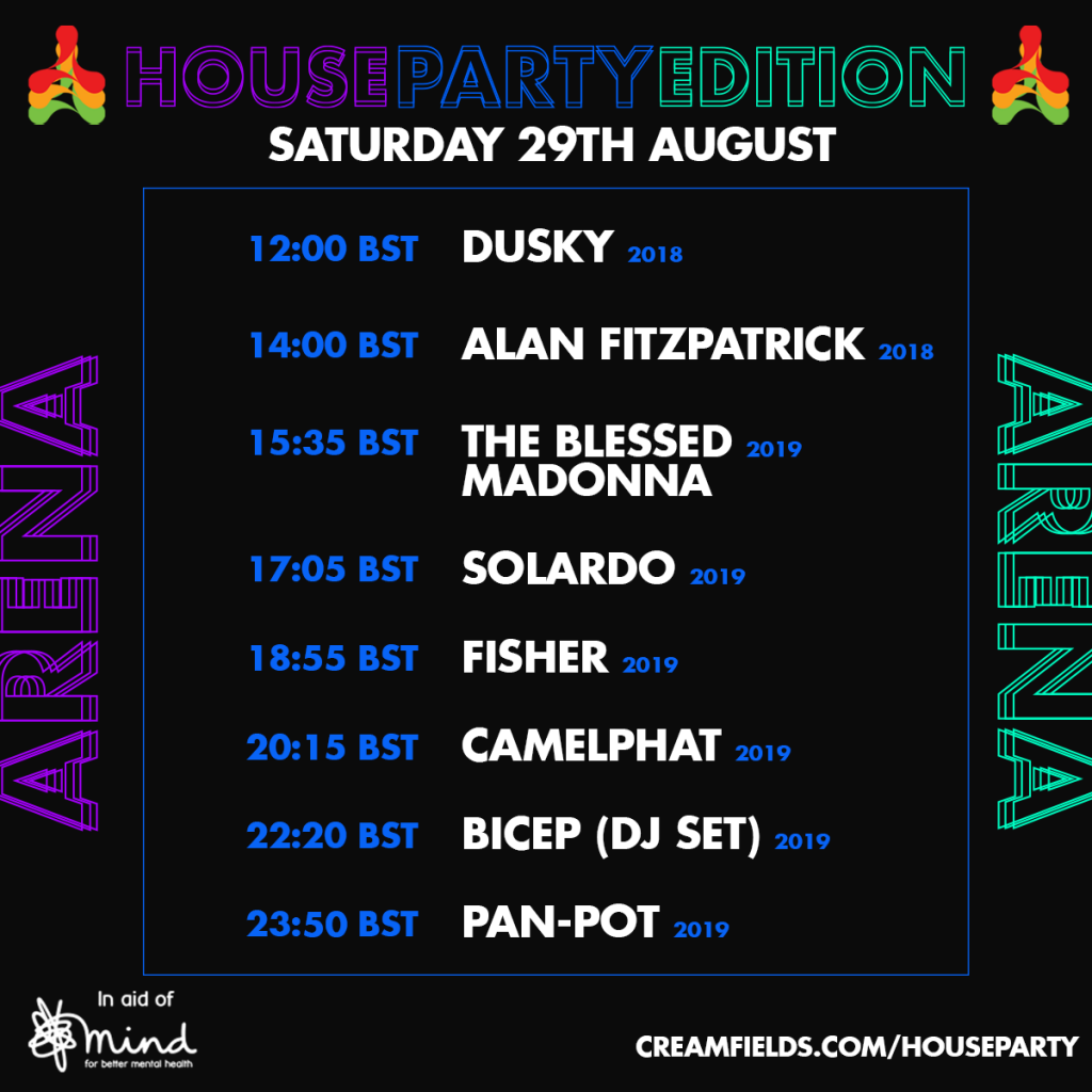 Creamfields House Party Edition Arena Schedule - Saturday