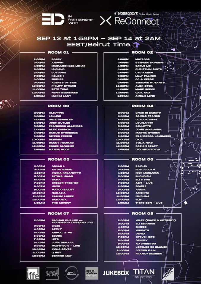 Beatport ReConnect For Beirut Electronic Labor Day - Schedule