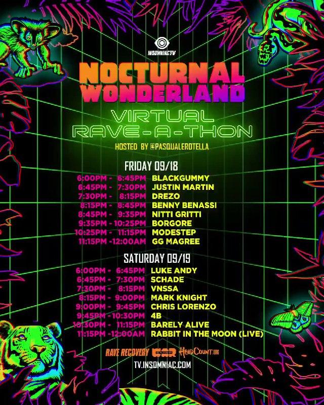 Nocturnal Wonderland Virtual Rave-A-Thon Schedule