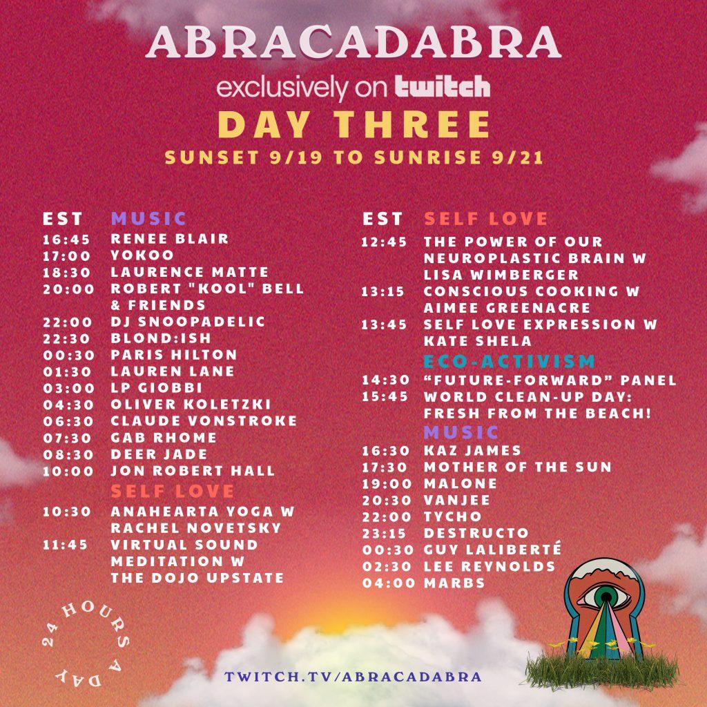 Abracadabra Festival Livestream Schedule - Saturday