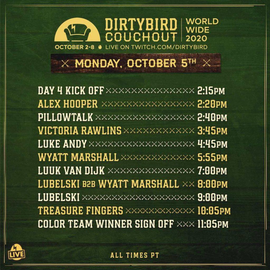 Dirtybird Couchout 2020 Schedule - Monday