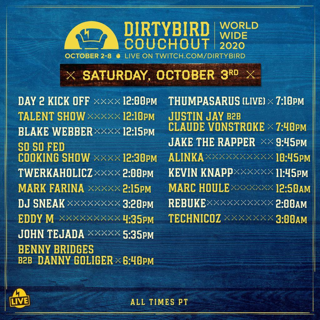 Dirtybird Couchout 2020 Schedule - Saturday