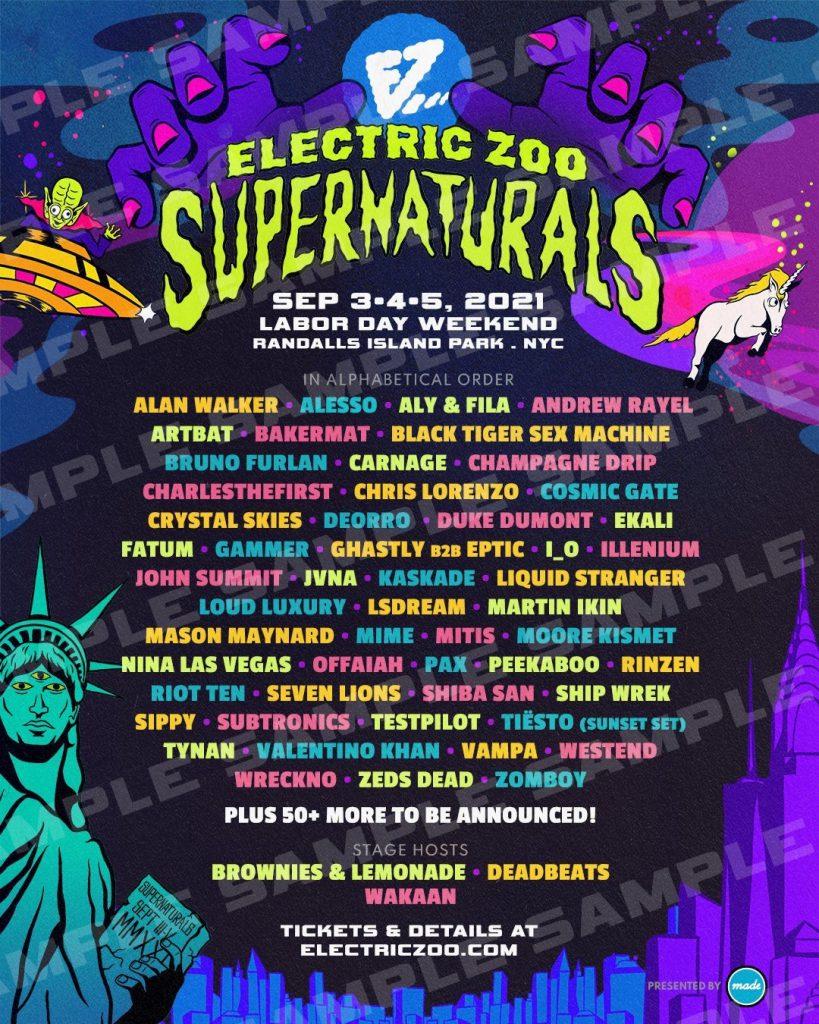 Electric Zoo: Supernaturals 2021 Initial Lineup