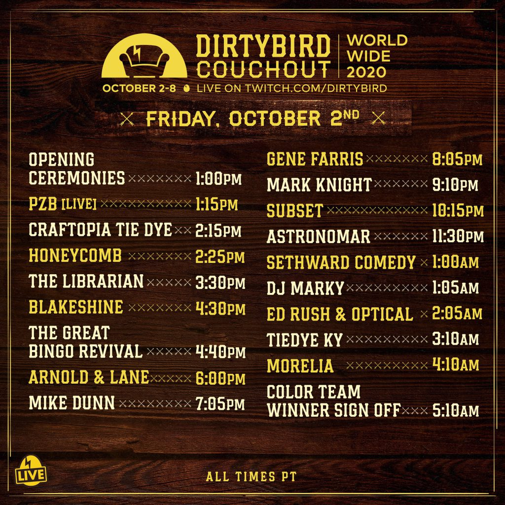 Dirtybird Couchout 2020 Schedule - Friday