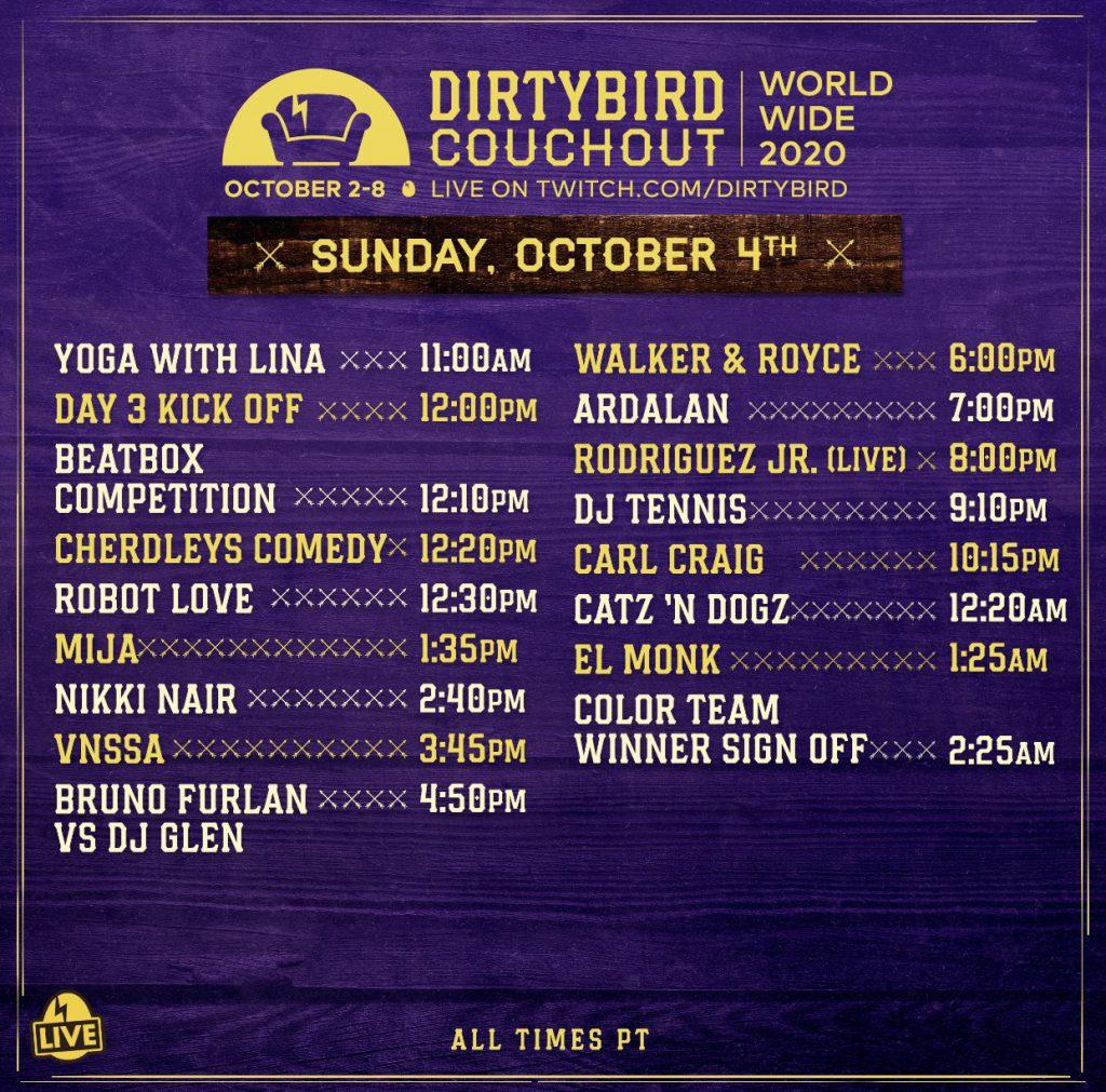 Dirtybird Couchout 2020 Schedule - Sunday