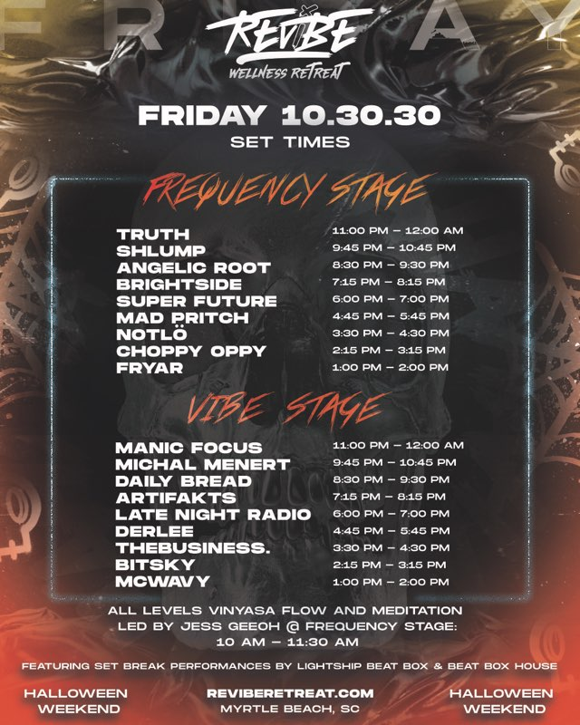 ReVibe Wellness Retreat 2020 Set Times - Friday