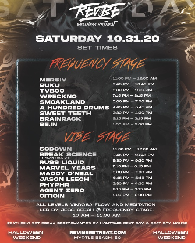 ReVibe Wellness Retreat 2020 Set Times - Saturday