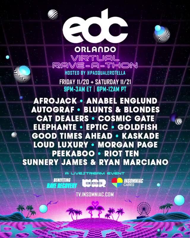 EDC Orlando Virtual Rave-A-Thon Lineup