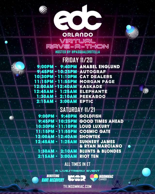 EDC Orlando Virtual Rave-A-Thon Schedule