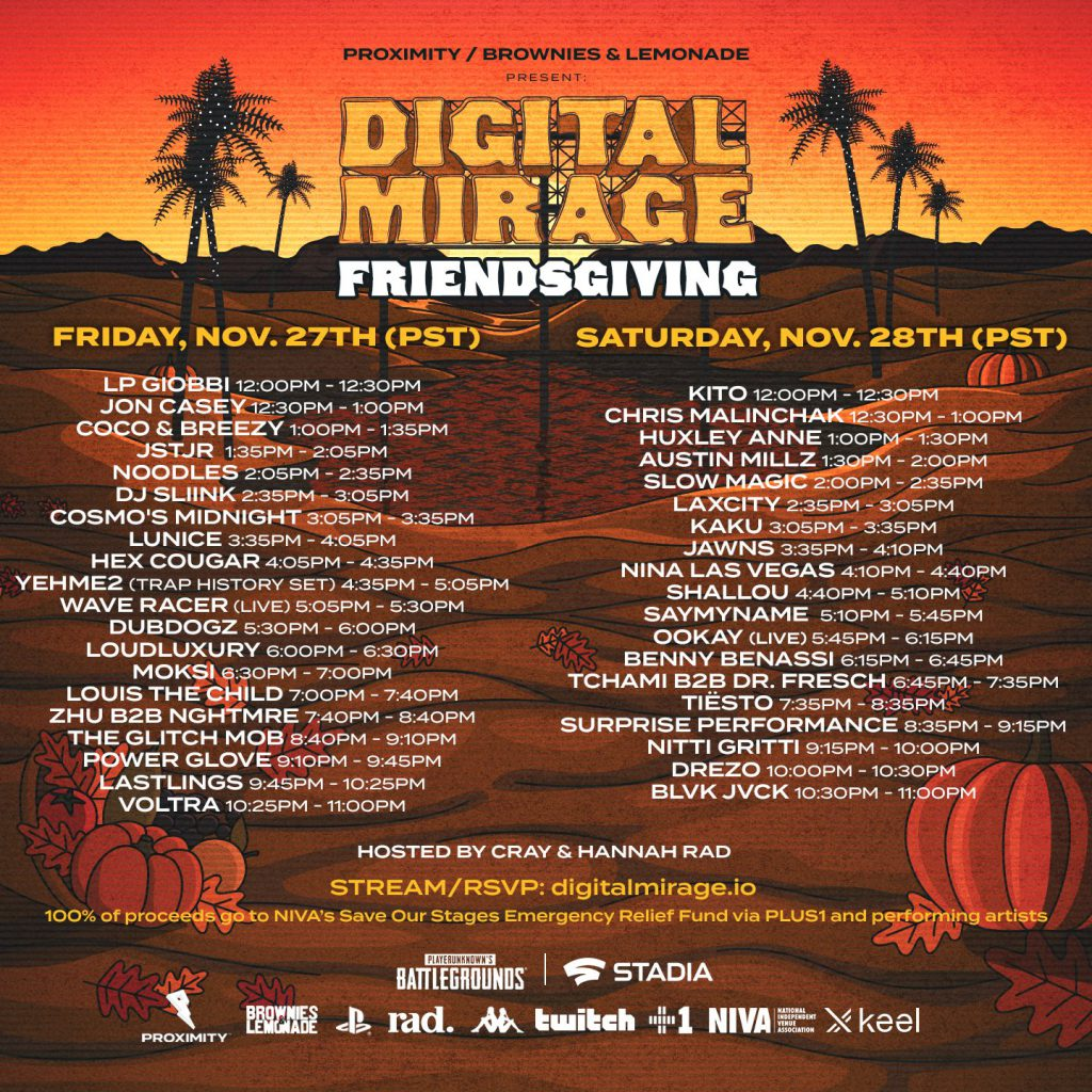 Digital Mirage Friendsgiving Set Times