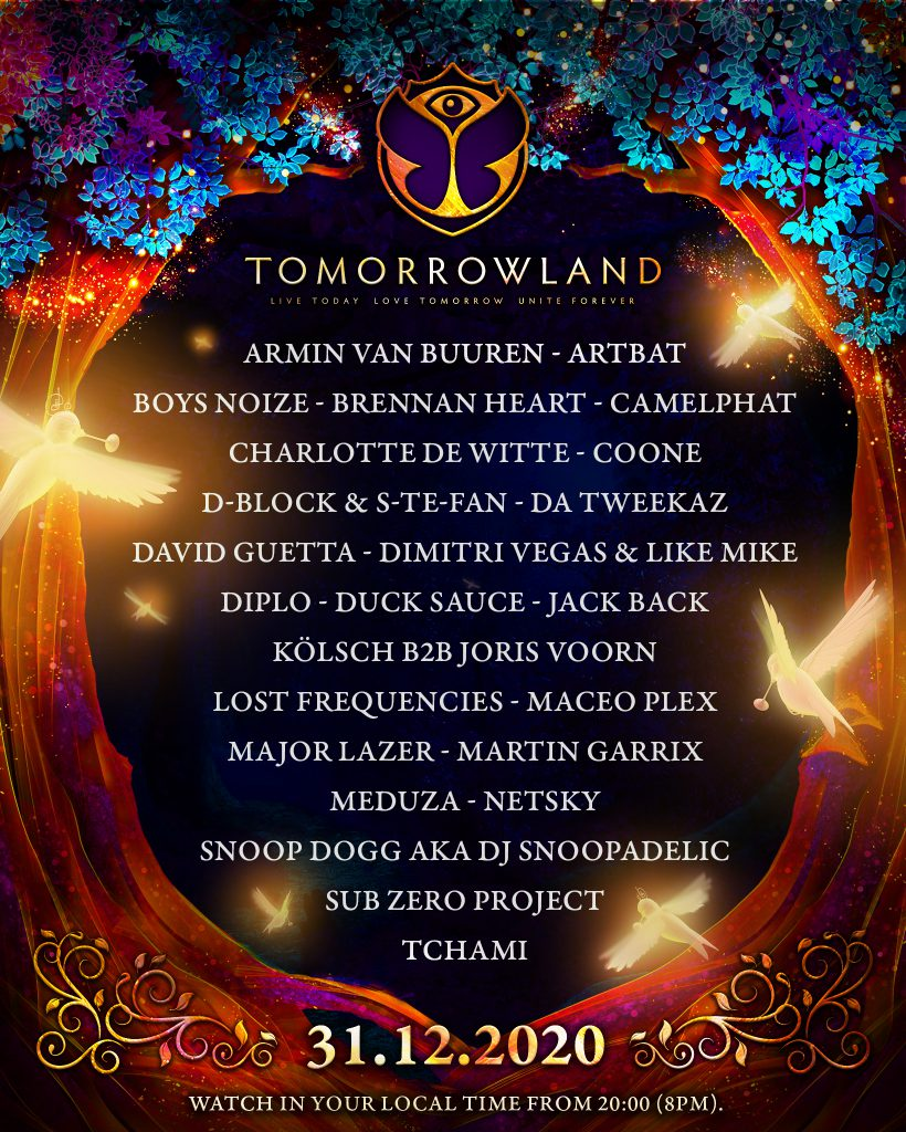 Tomorrowland NYE Virtual Festival Lineup