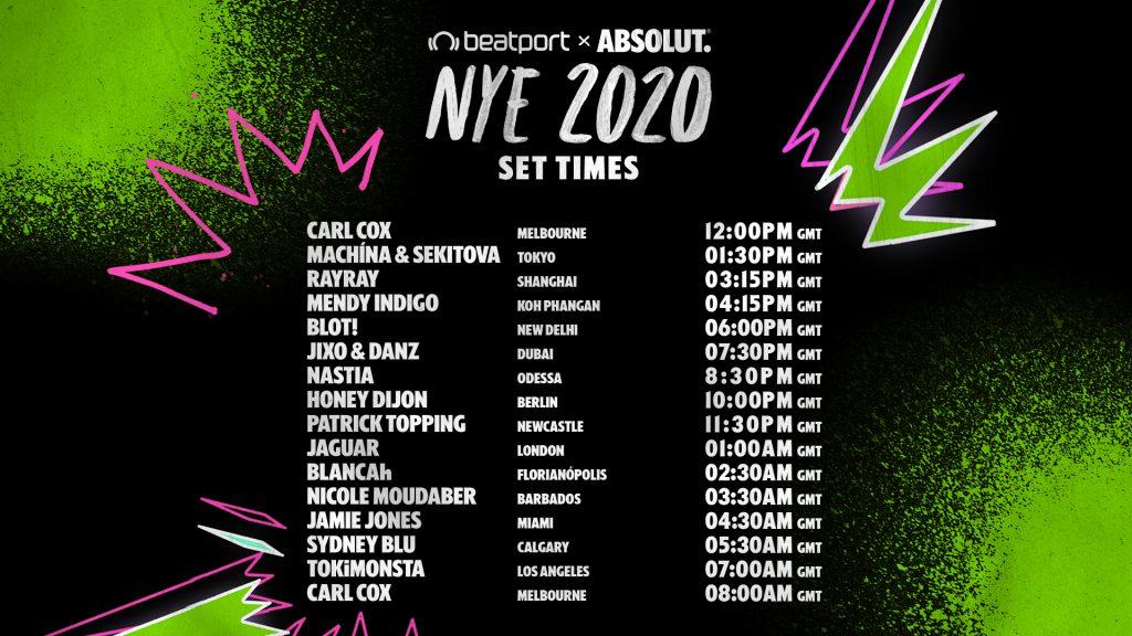 Beatport X Absolut #DanceAway2020 Livestream Set Times