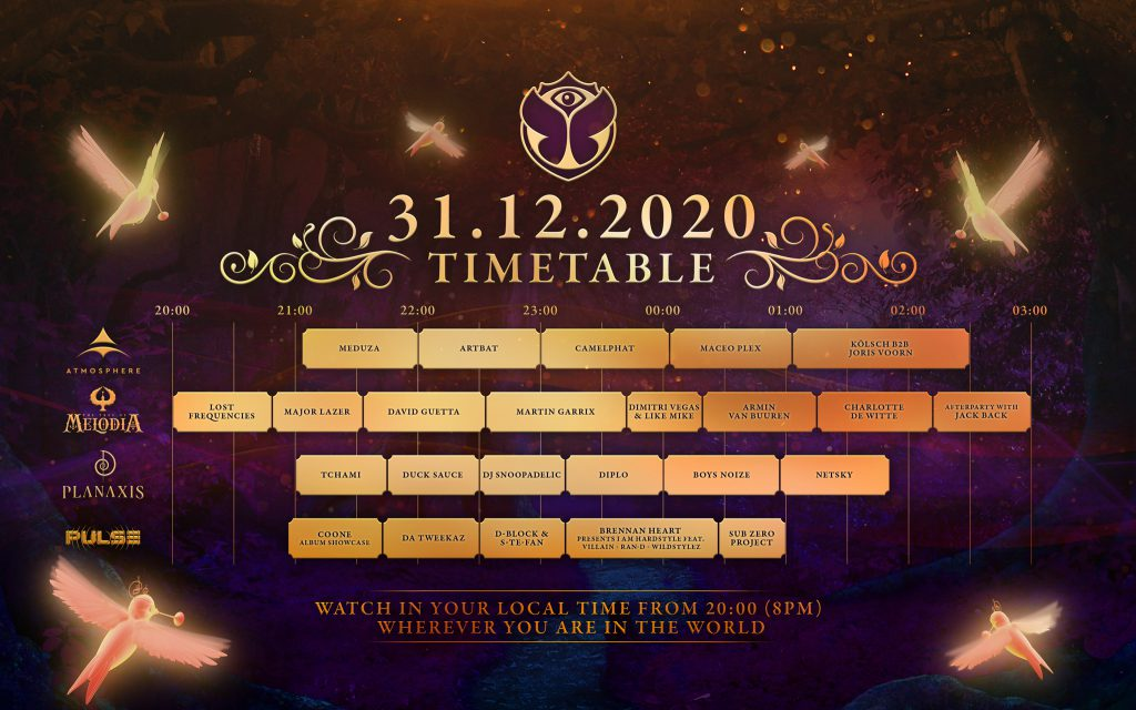 Tomorrowland NYE Virtual Festival Set Times