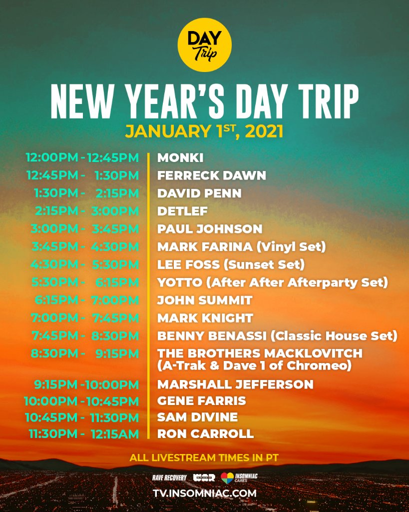 New Year's Day Trip Livestream Set Times
