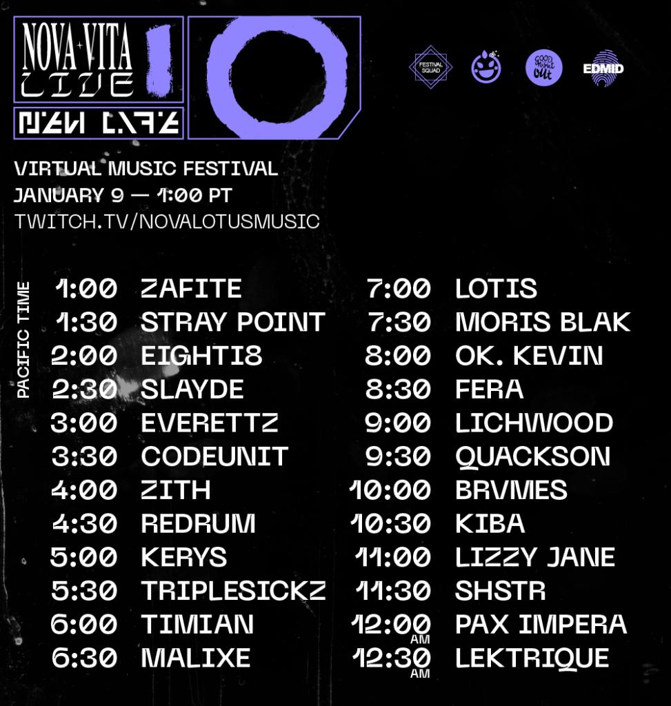 Nova Lotus - Nova Vita Live Set Times