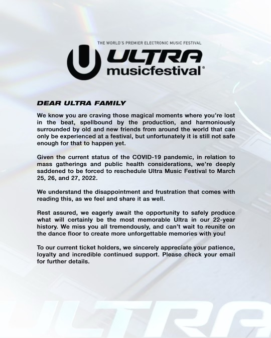 Ultra Music Festival 2021 Cancelled