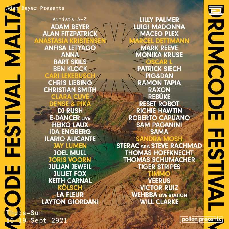 Drumcode Festival Malta 2021 Lineup