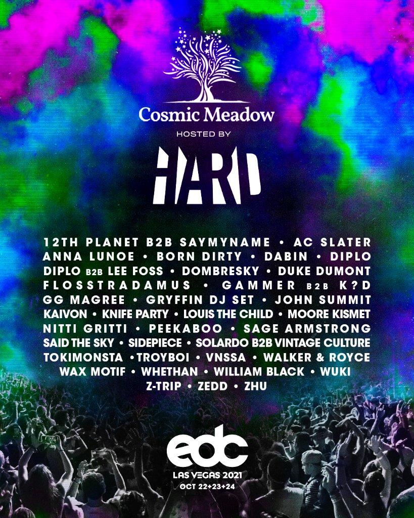 EDC Las Vegas 2021 cosmicMEADOW Lineup: