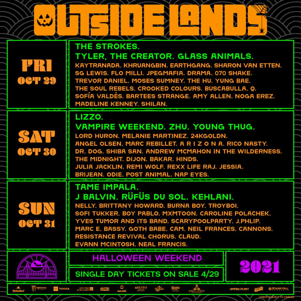 Outside Lands 2021 Daily Lineups