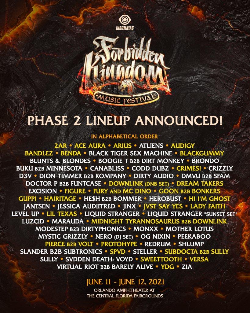 Forbidden Kingdom 2021 Phase 2 Lineup