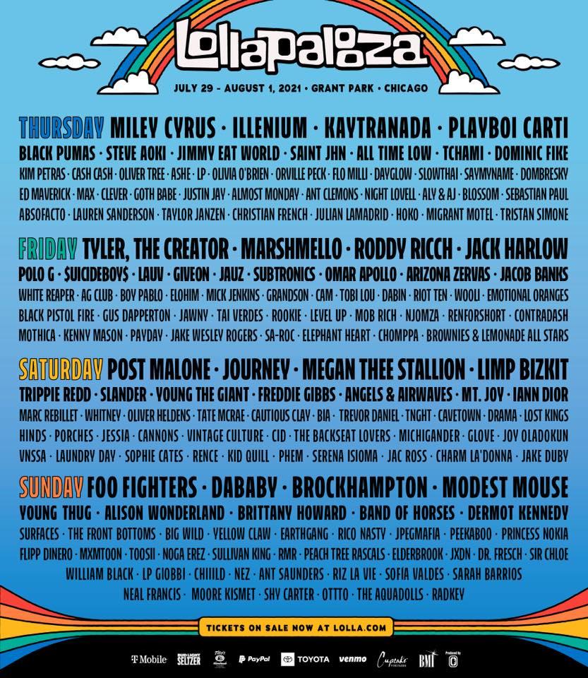 Lollapalooza 2021 Daily Lineups