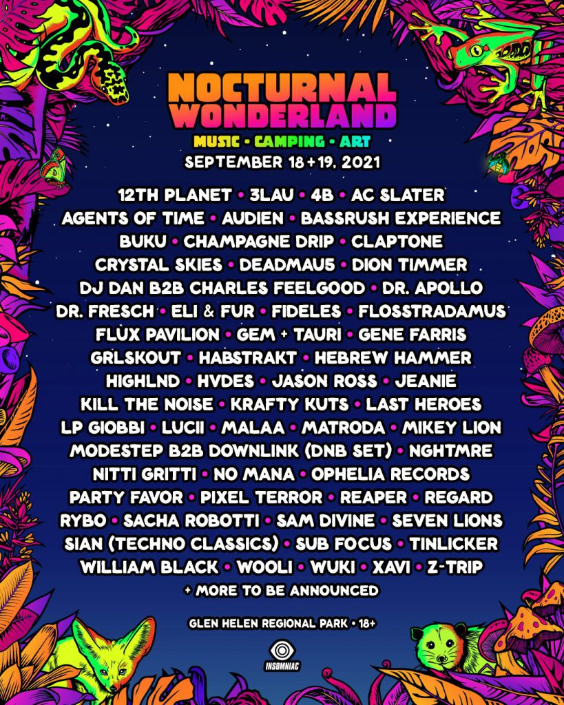 Insomniac shares full lineup for Nocturnal Wonderland's 2021 return with deadmau5, Seven Lions, Malaa, and moreNocturnal Wonderland 2021 Lineup