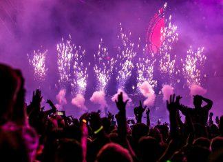 purple fireworks effect club