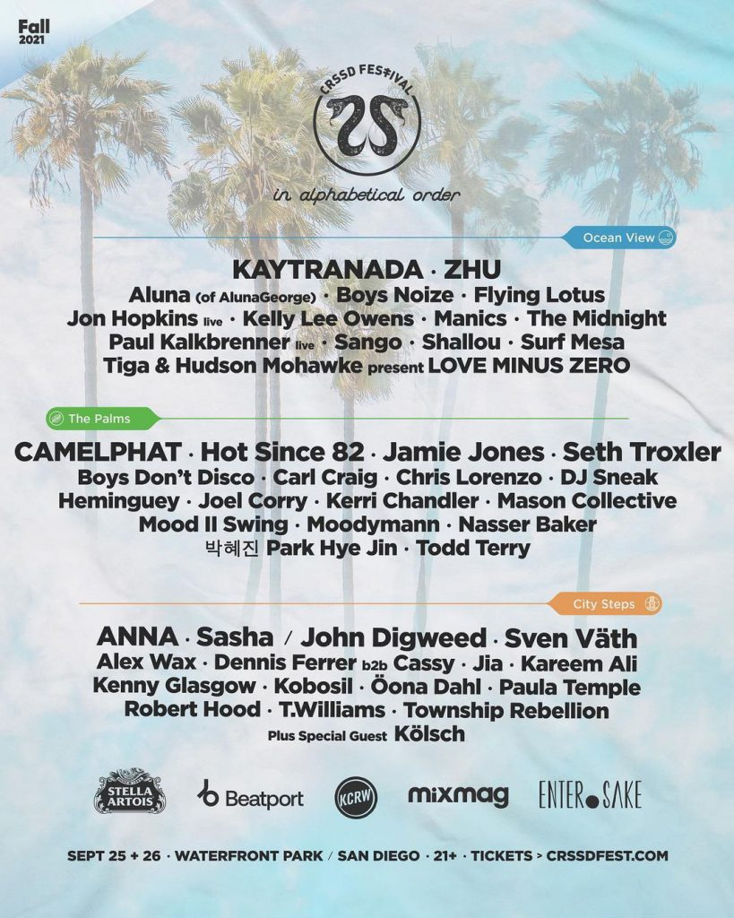 CRSSD Festival Fall 2021 Full Lineup