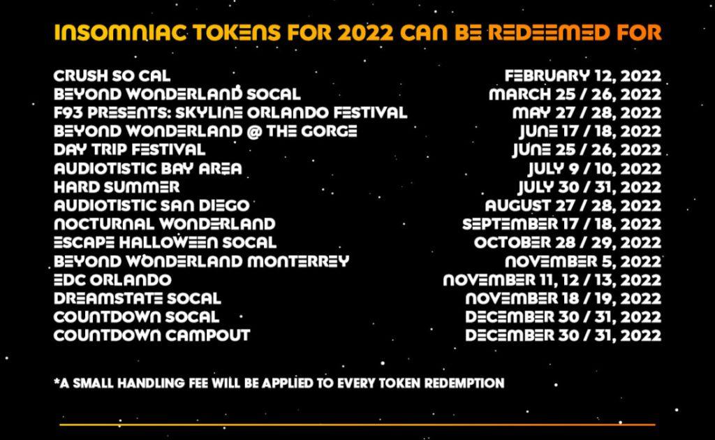 EDC Las Vegas 2022 Insomniac Tokens