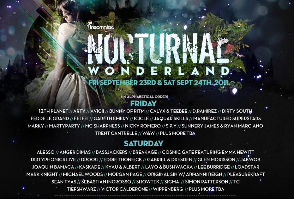 Nocturnal Wonderland 2011 Lineup Flyer