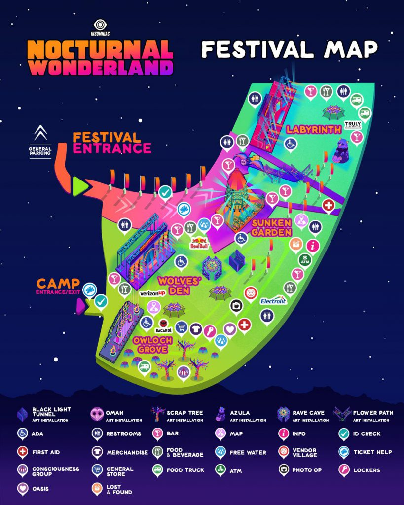 Nocturnal Wonderland 2021 Festival Map
