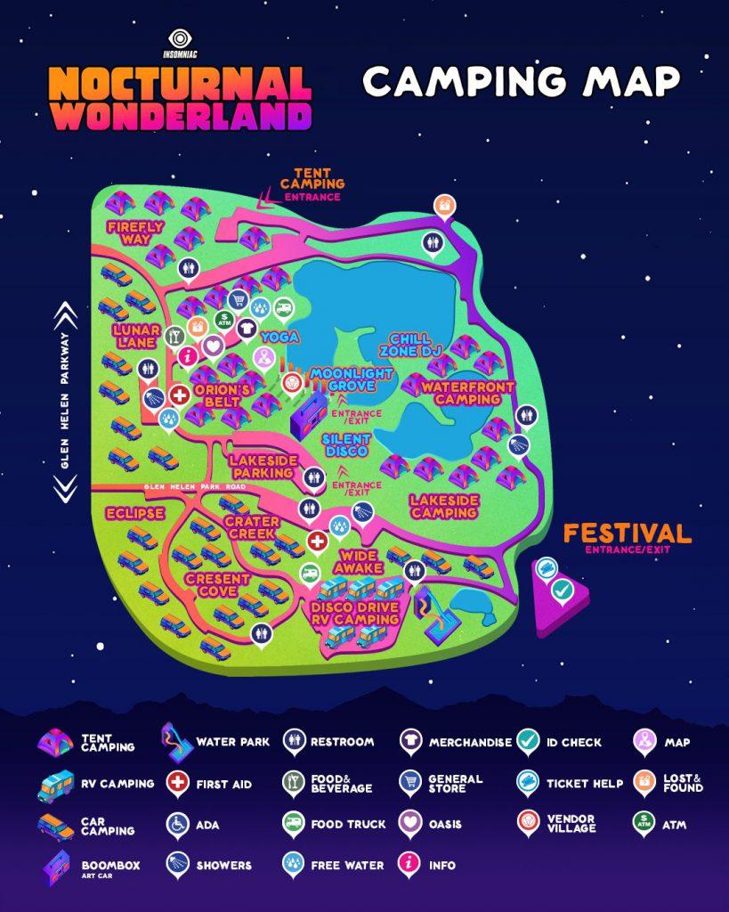 Nocturnal Wonderland 2021 Camping Map