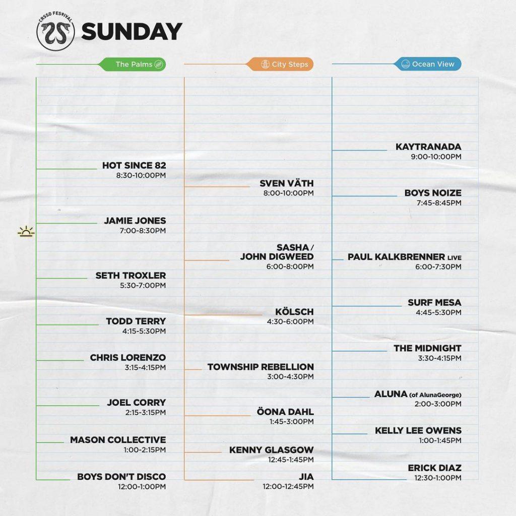 CRSSD Festival Fall 2021 Set Times - Sunday