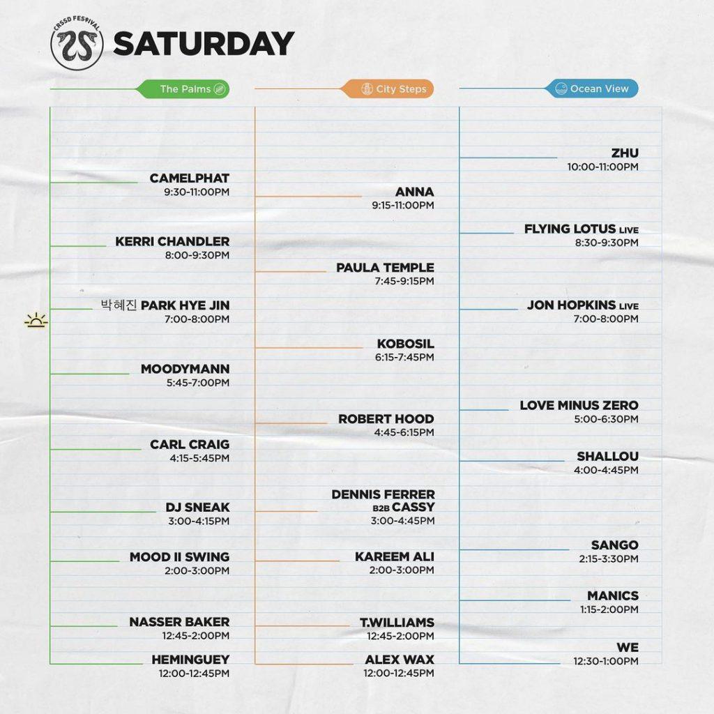 CRSSD Festival Fall 2021 Set Times - Saturday