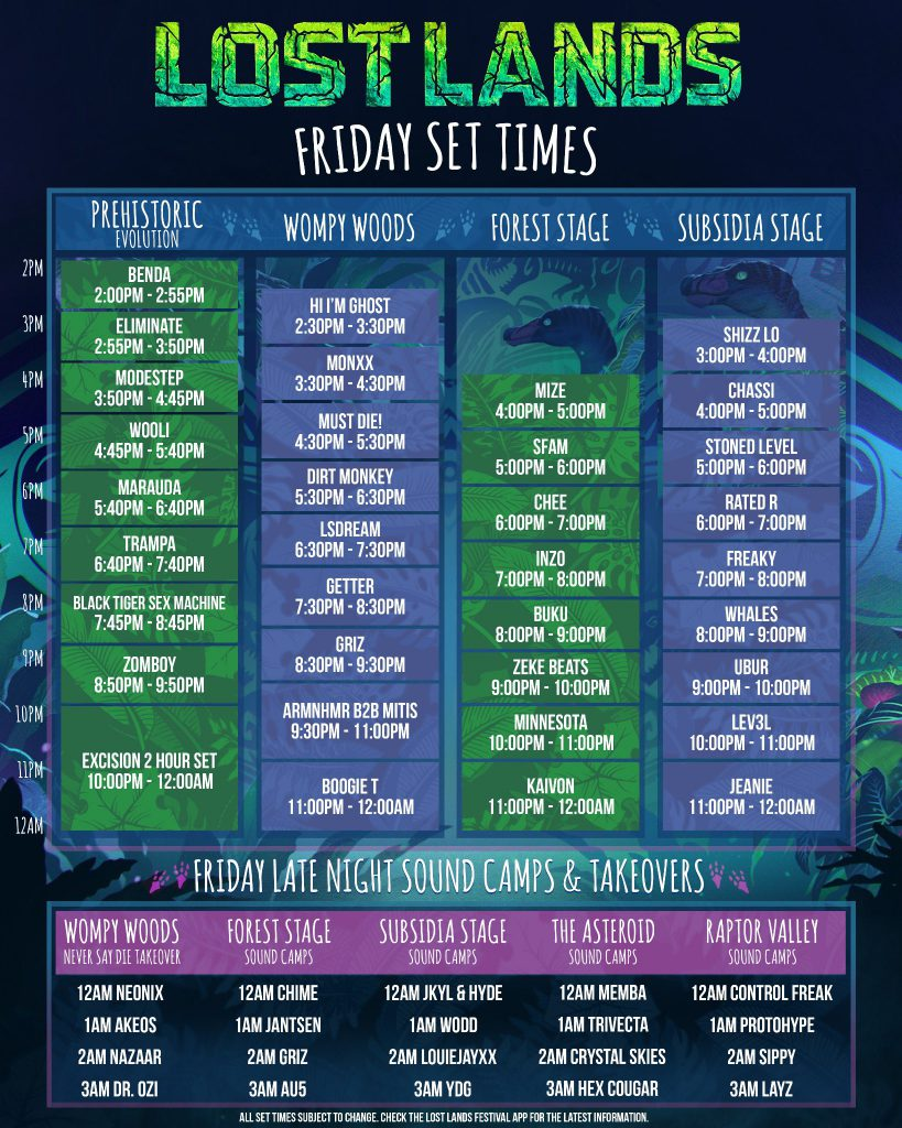 Lost Lands Music Festival 2021 Set Times - Friday