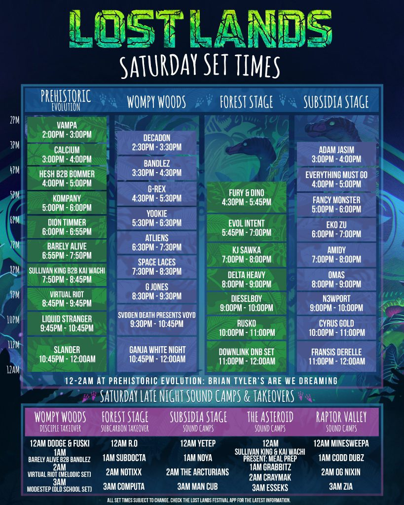 Lost Lands Music Festival 2021 Set Times - Saturday