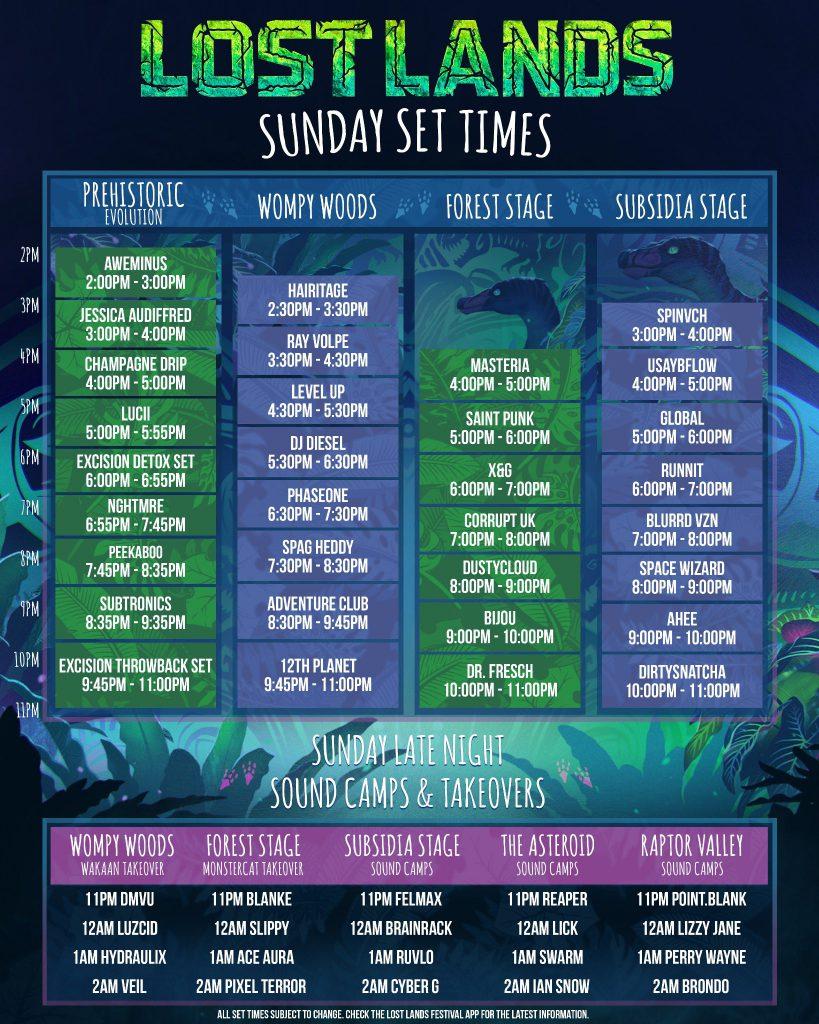 Lost Lands Music Festival 2021 Set Times - Sunday